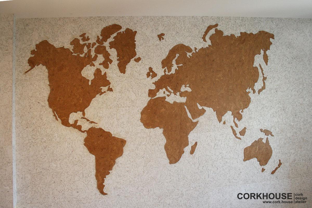 карта мира из стеновой пробки