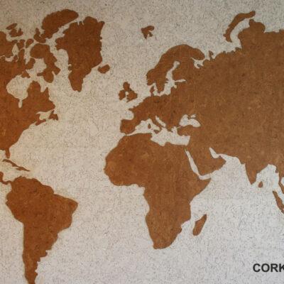 карта мира на стеновой пробке