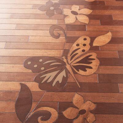 бабочки на клеевом пробковом паркете