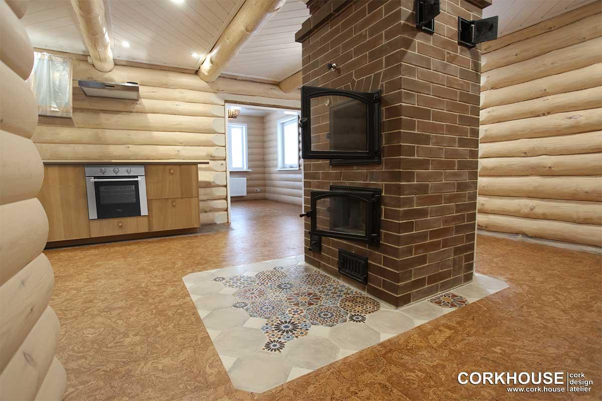 пробковый пол в деревянном доме